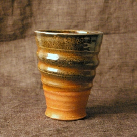 porcelain shino tumbler, soda fired